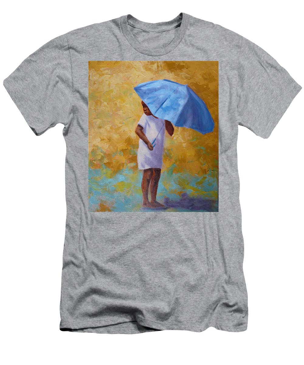 Child Men's T-Shirt (Athletic Fit) featuring the painting Blue Umbrella by Yvonne Ankerman