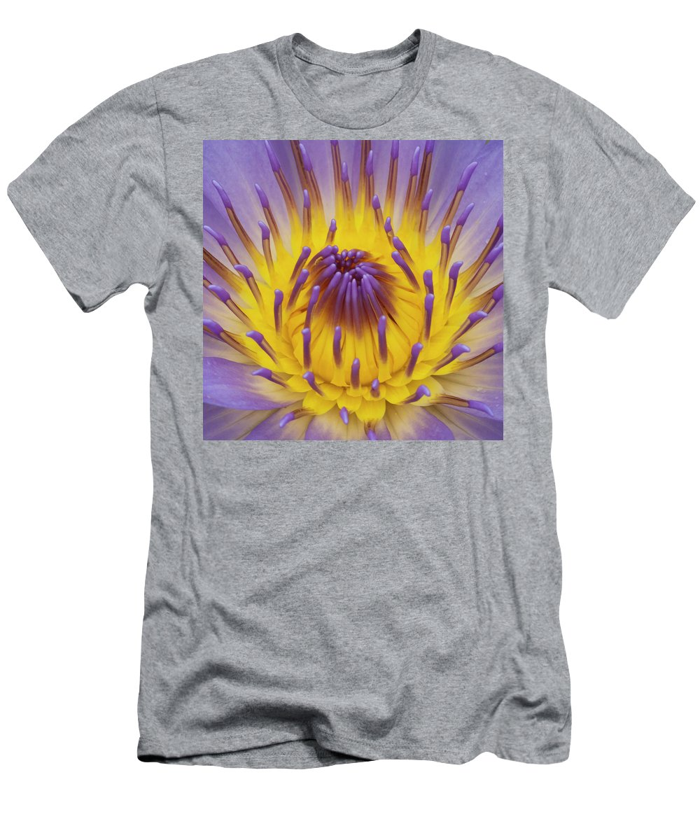 Water Lily Men's T-Shirt (Athletic Fit) featuring the photograph Blue Water Lily by Heiko Koehrer-Wagner