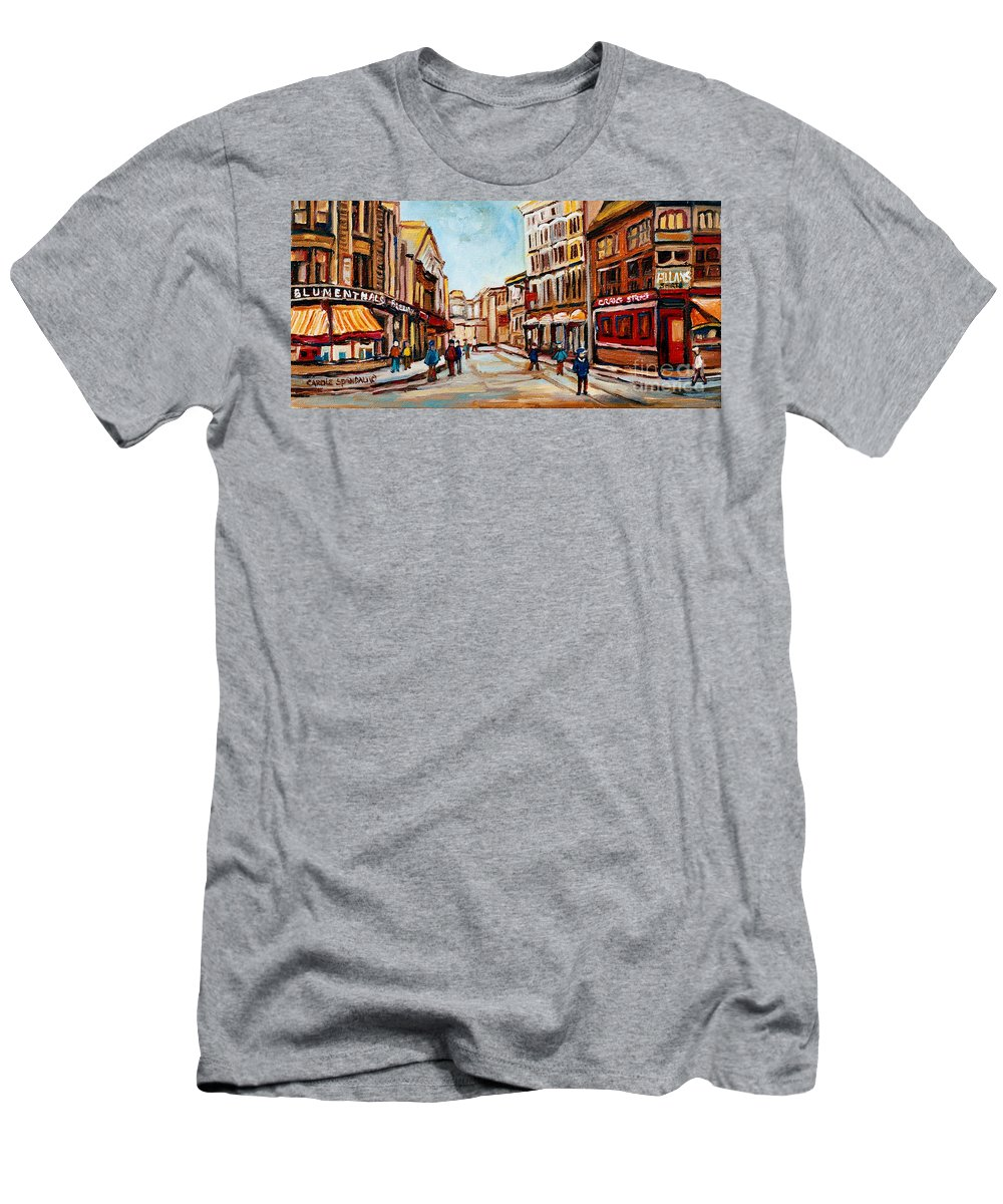 Montreal Men's T-Shirt (Athletic Fit) featuring the painting Blumenthals On Craig Street by Carole Spandau