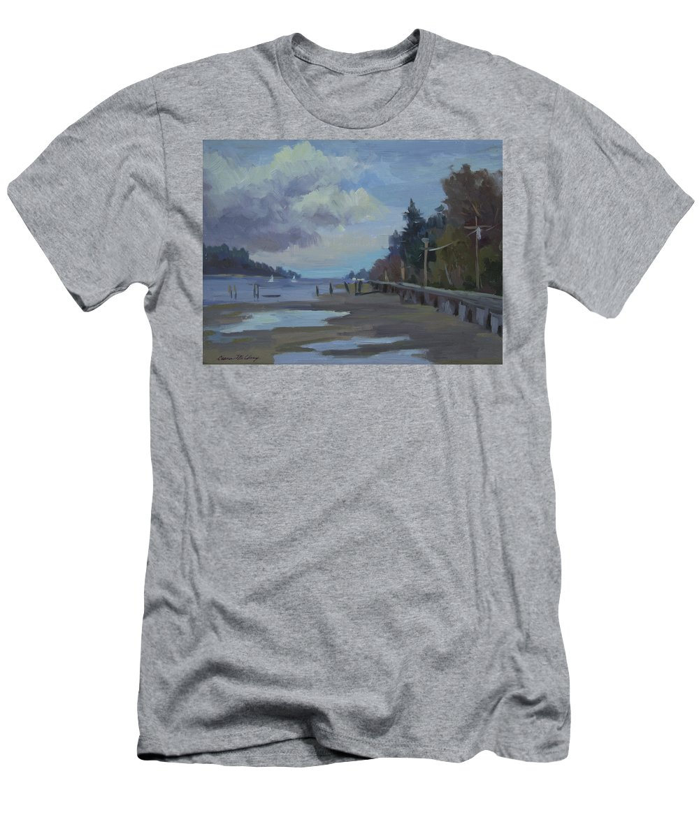 Vashon Island Men's T-Shirt (Athletic Fit) featuring the painting Boardwalk On Vashon Island by Diane McClary