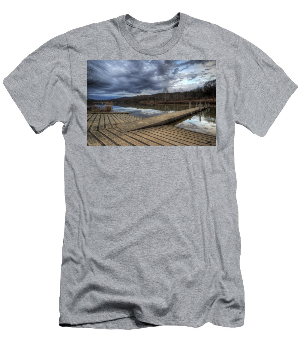 Boat Men's T-Shirt (Athletic Fit) featuring the photograph Boat Ramp by David Dufresne