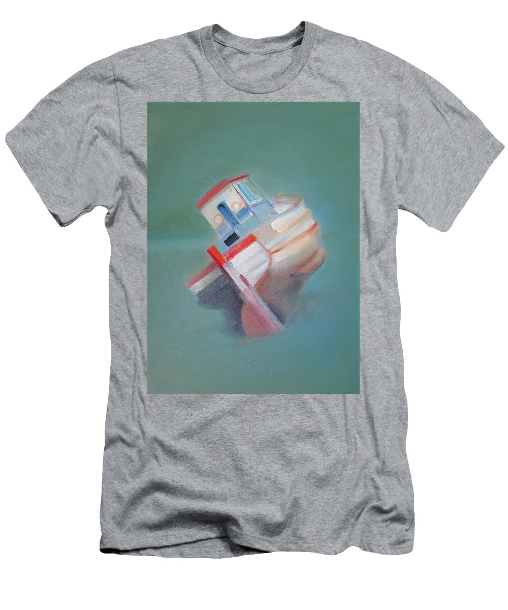 Fishing Boat Men's T-Shirt (Athletic Fit) featuring the painting Boat Retired Tavira by Charles Stuart
