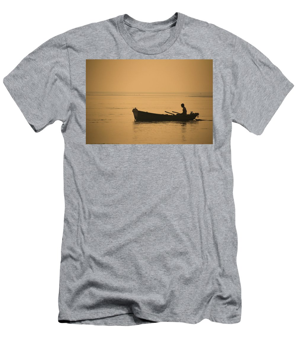 Allahabad Men's T-Shirt (Athletic Fit) featuring the photograph Boatman by Gaurav Singh