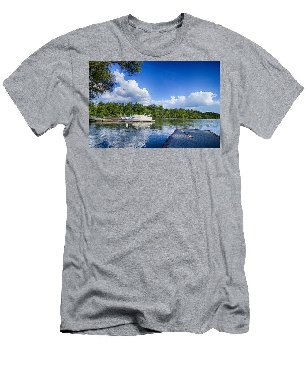 Boat Men's T-Shirt (Athletic Fit) featuring the photograph Boats At Dock On A Lake With Blue Sky by Alex Grichenko