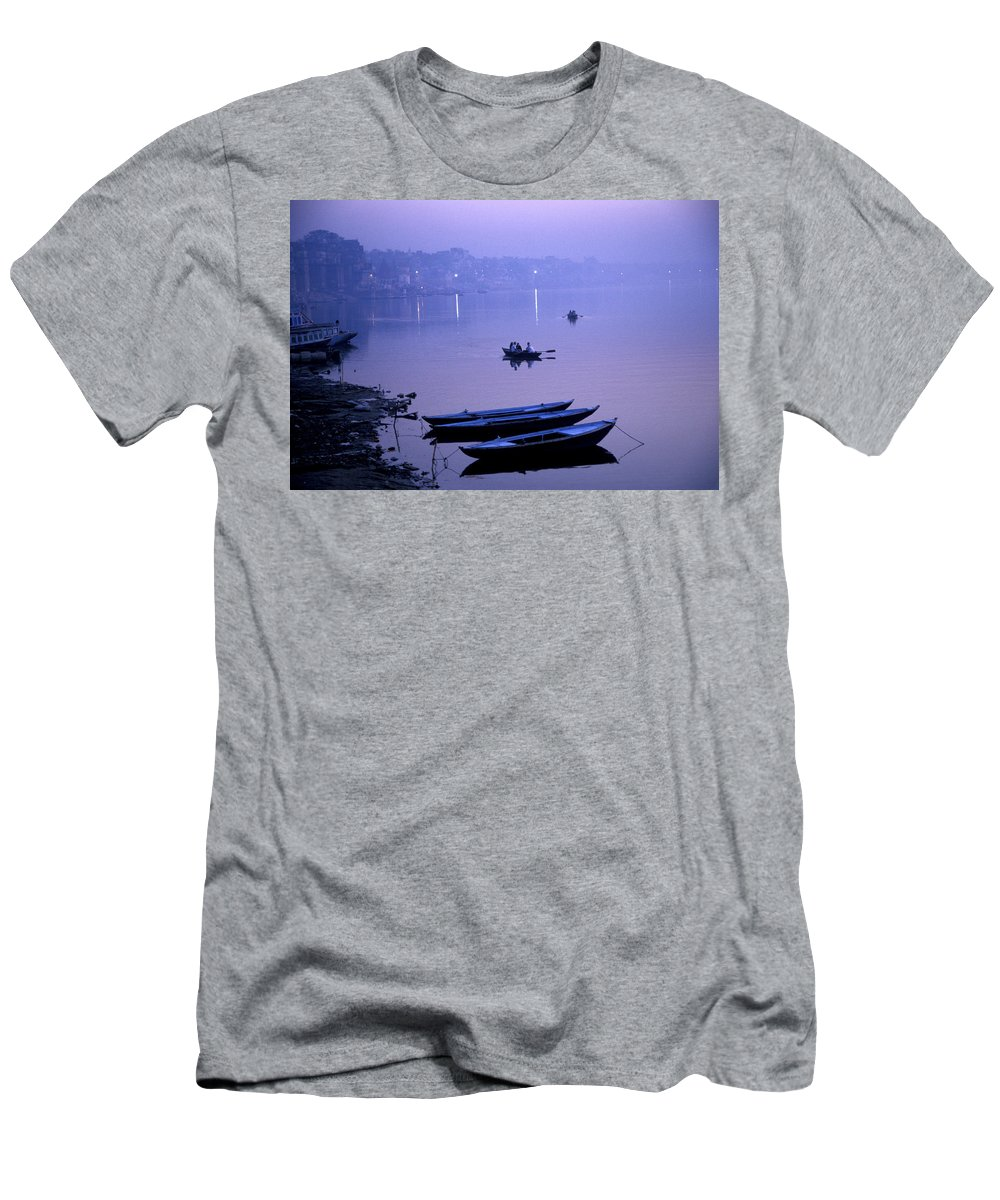 Ancient Men's T-Shirt (Athletic Fit) featuring the photograph Boats On The Ganges River by Scott Warren