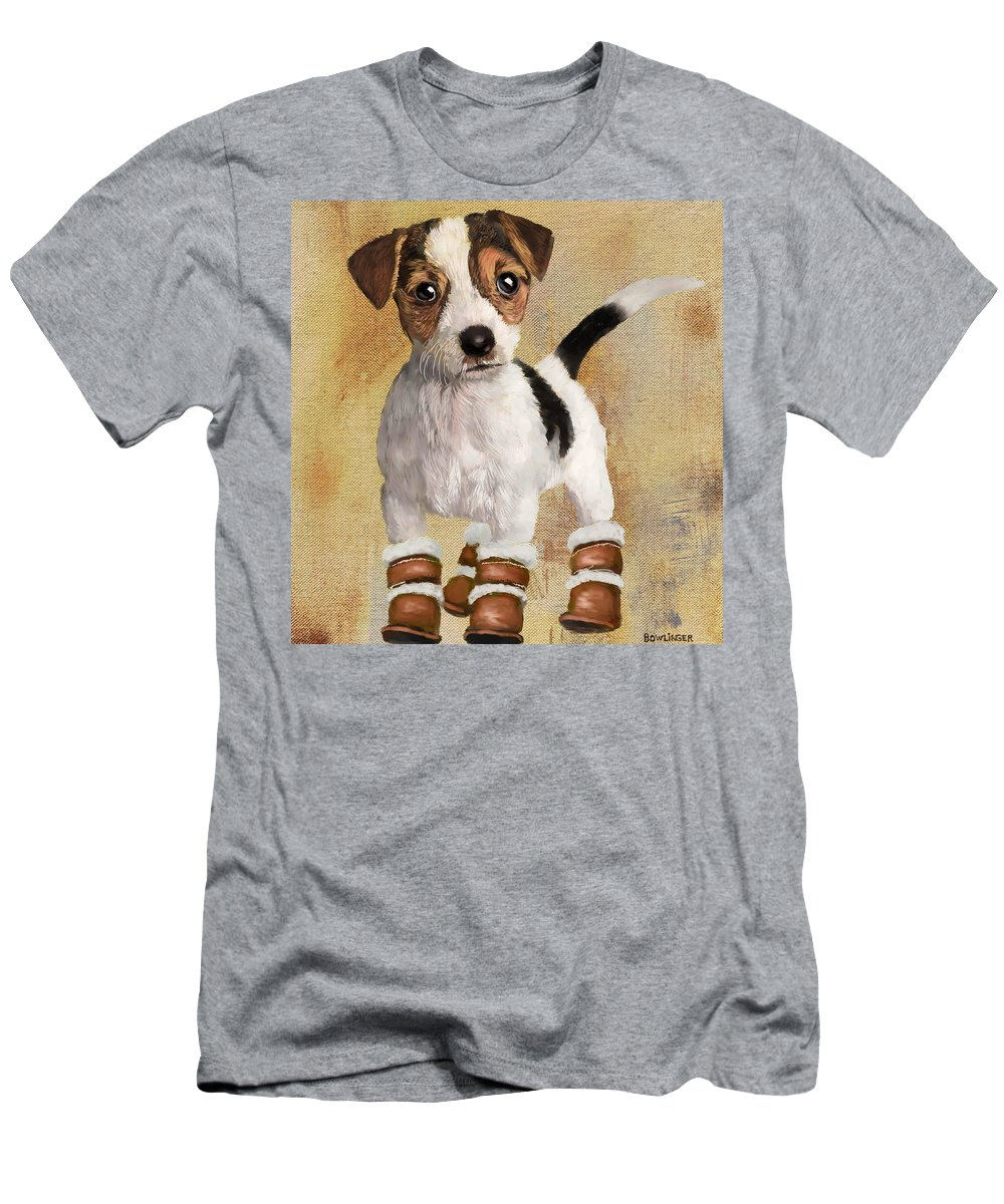 Figure Men's T-Shirt (Athletic Fit) featuring the painting Boots For Baxter by Scott Bowlinger
