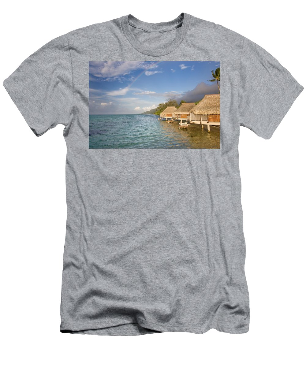 Above Men's T-Shirt (Athletic Fit) featuring the photograph Bora Bora Rainbow by M Swiet Productions