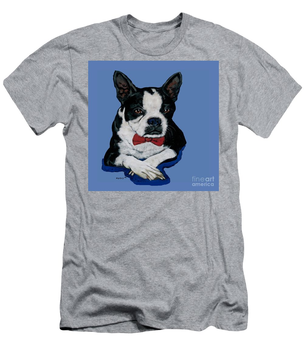Boston Men's T-Shirt (Athletic Fit) featuring the painting Boston Terrier With A Bowtie by Dale Moses
