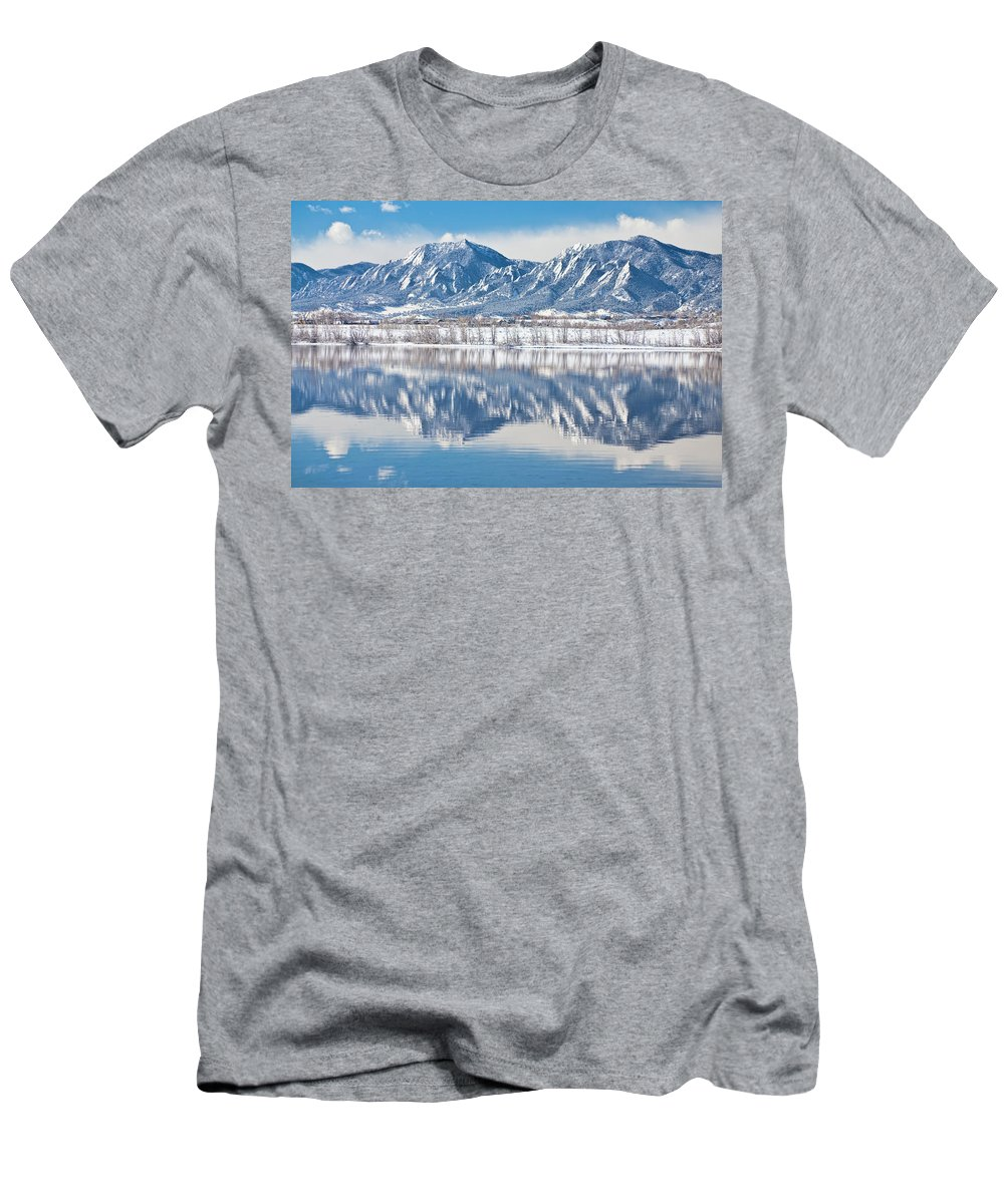 Winter Men's T-Shirt (Athletic Fit) featuring the photograph Boulder Reservoir Flatirons Reflections Boulder Colorado by James BO Insogna