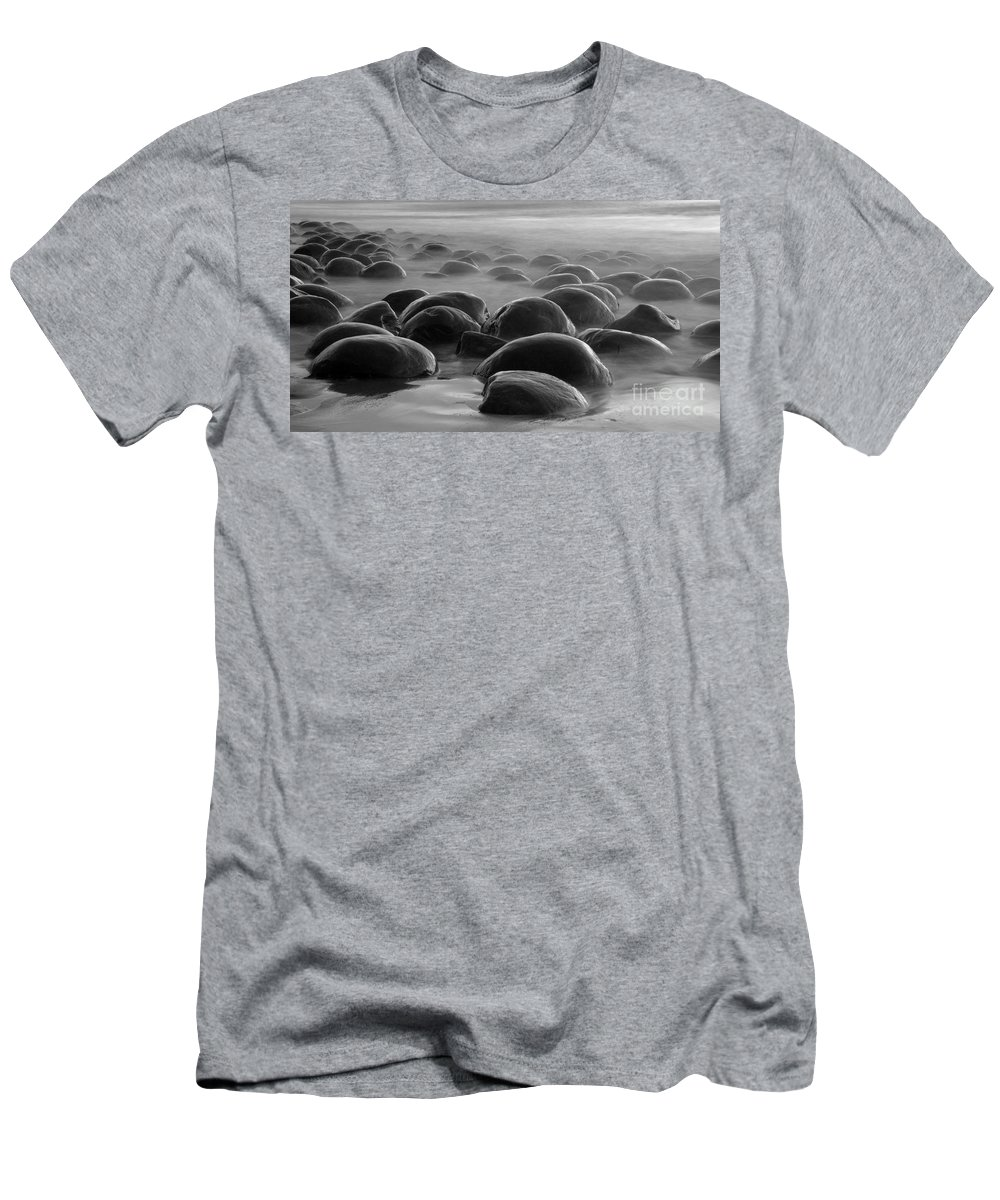 Bowling Ball Beach Men's T-Shirt (Athletic Fit) featuring the photograph Bowling Ball Beach Bw by Bob Christopher