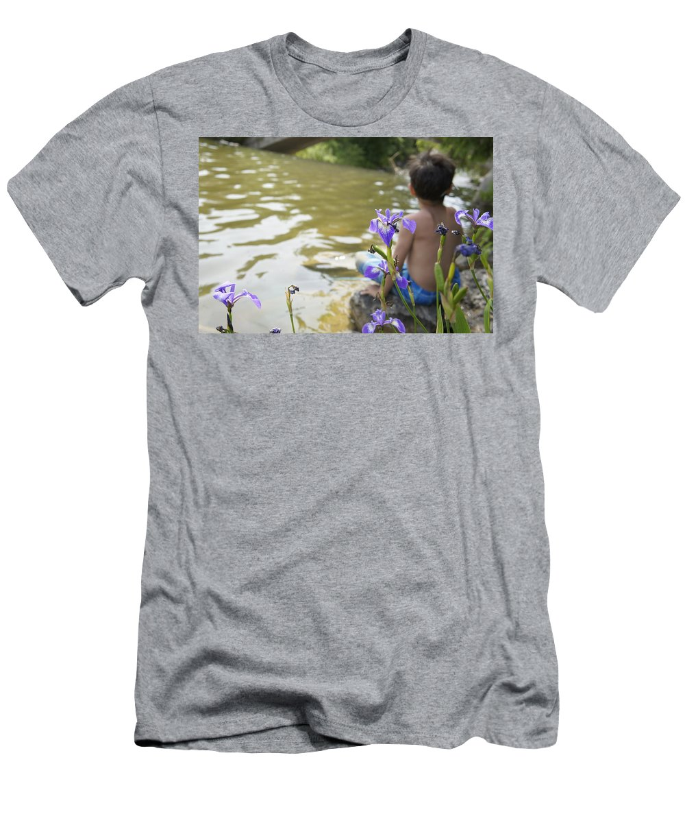 Boy Men's T-Shirt (Athletic Fit) featuring the digital art Boy On The Water by Naomi McQuade