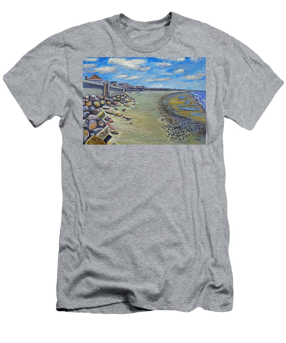 Ocean Bluff Men's T-Shirt (Athletic Fit) featuring the painting Brant Rock Beach by Rita Brown