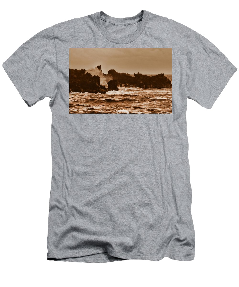 Breaking Waves Men's T-Shirt (Athletic Fit) featuring the photograph Breaking Waves-big Island Hawaii by Douglas Barnard