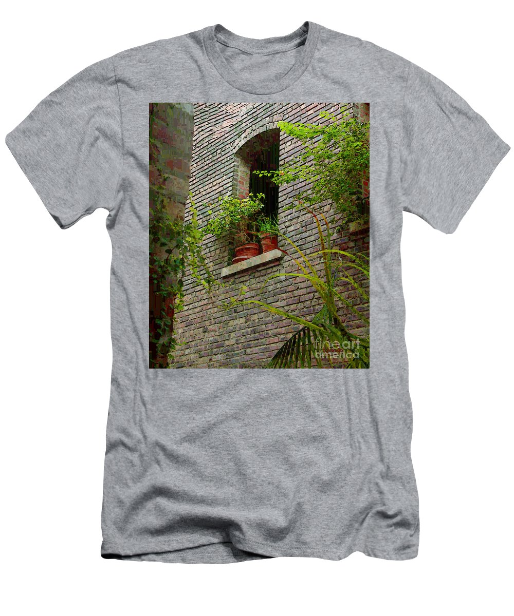 Window Men's T-Shirt (Athletic Fit) featuring the painting Brick With Greenery by RC DeWinter