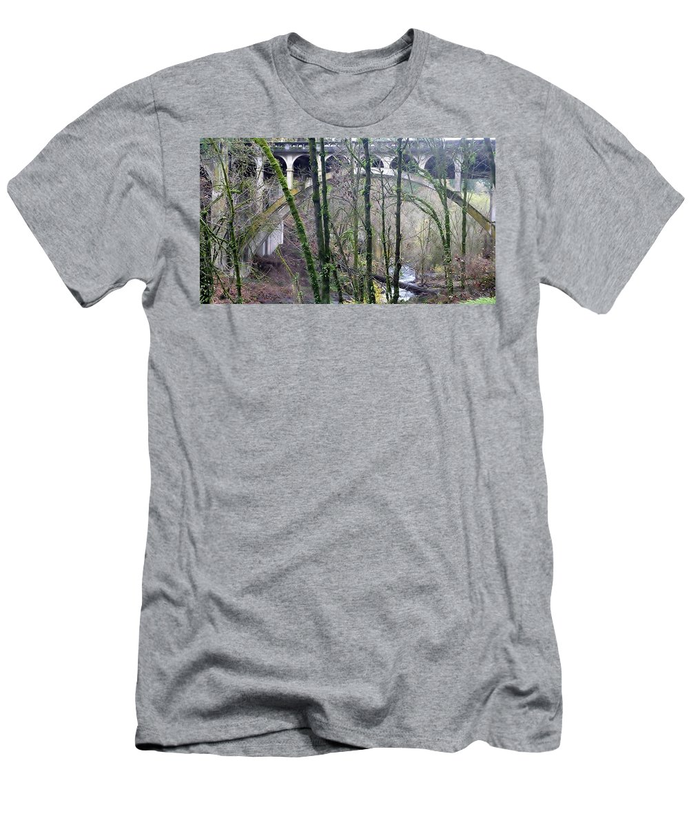 View Of Bridge Arch Through The Trees Men's T-Shirt (Athletic Fit) featuring the photograph Bridge Arch Through The Trees by Susan Garren