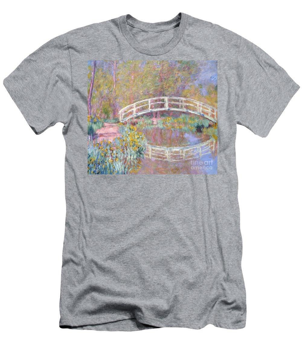Monet Men's T-Shirt (Athletic Fit) featuring the painting Bridge In Monet's Garden by Claude Monet
