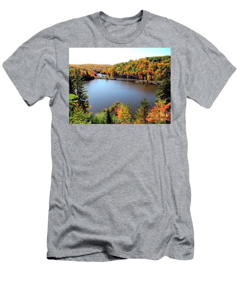 Fall Men's T-Shirt (Athletic Fit) featuring the photograph Old Bridge, New Bridge by Jaunine Roberts