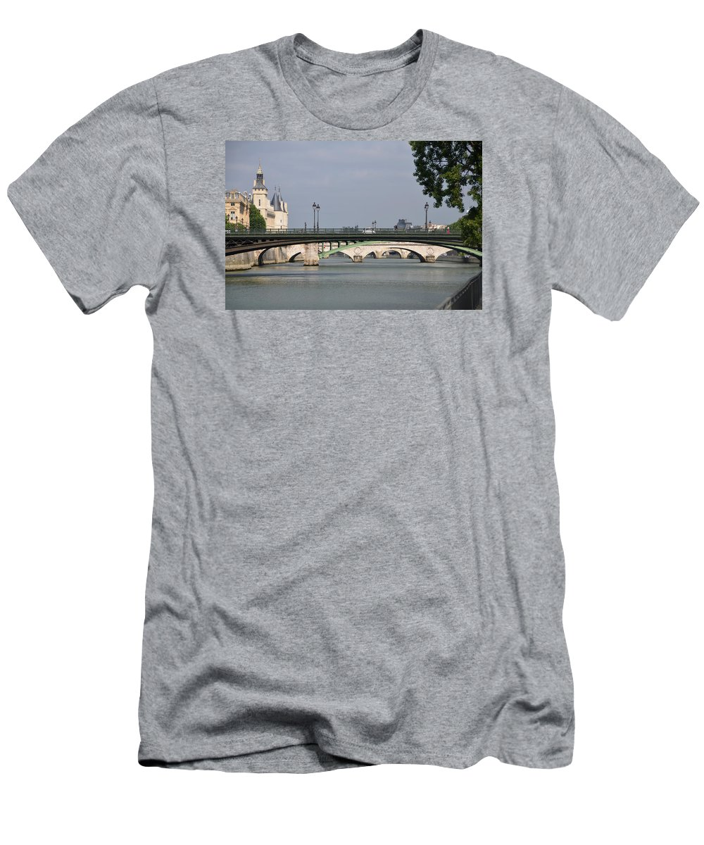 Bridges Men's T-Shirt (Athletic Fit) featuring the photograph Bridges Over The Seine And Conciergerie - Paris by RicardMN Photography