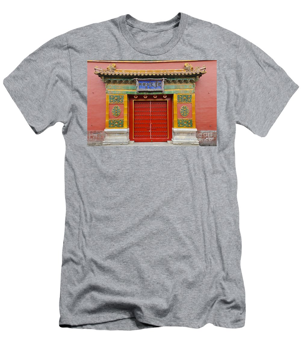 Asian Decor Men's T-Shirt (Athletic Fit) featuring the photograph Bright Doorway by John Shaw