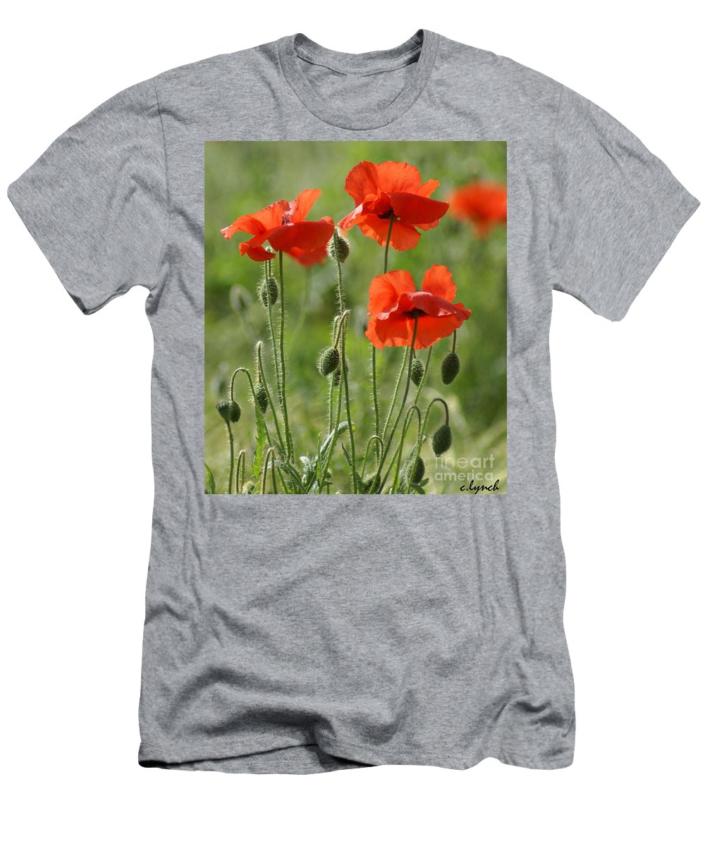 Poppies Men's T-Shirt (Athletic Fit) featuring the photograph Bright Poppies 1 by Carol Lynch
