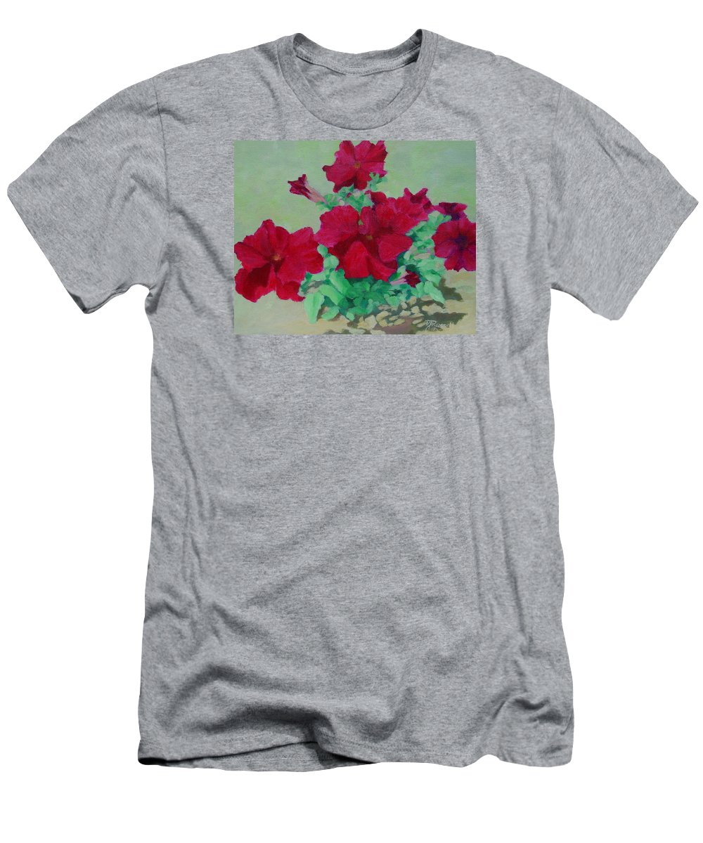 Bright Flowers Men's T-Shirt (Athletic Fit) featuring the painting Red Flowers Art Brilliant Petunias Bright Floral by K Joann Russell