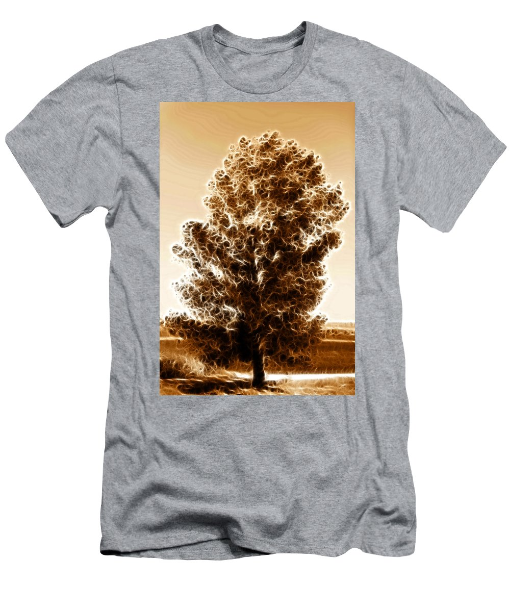 Tree Men's T-Shirt (Athletic Fit) featuring the digital art Brown Of Autumn by Sotiris Filippou