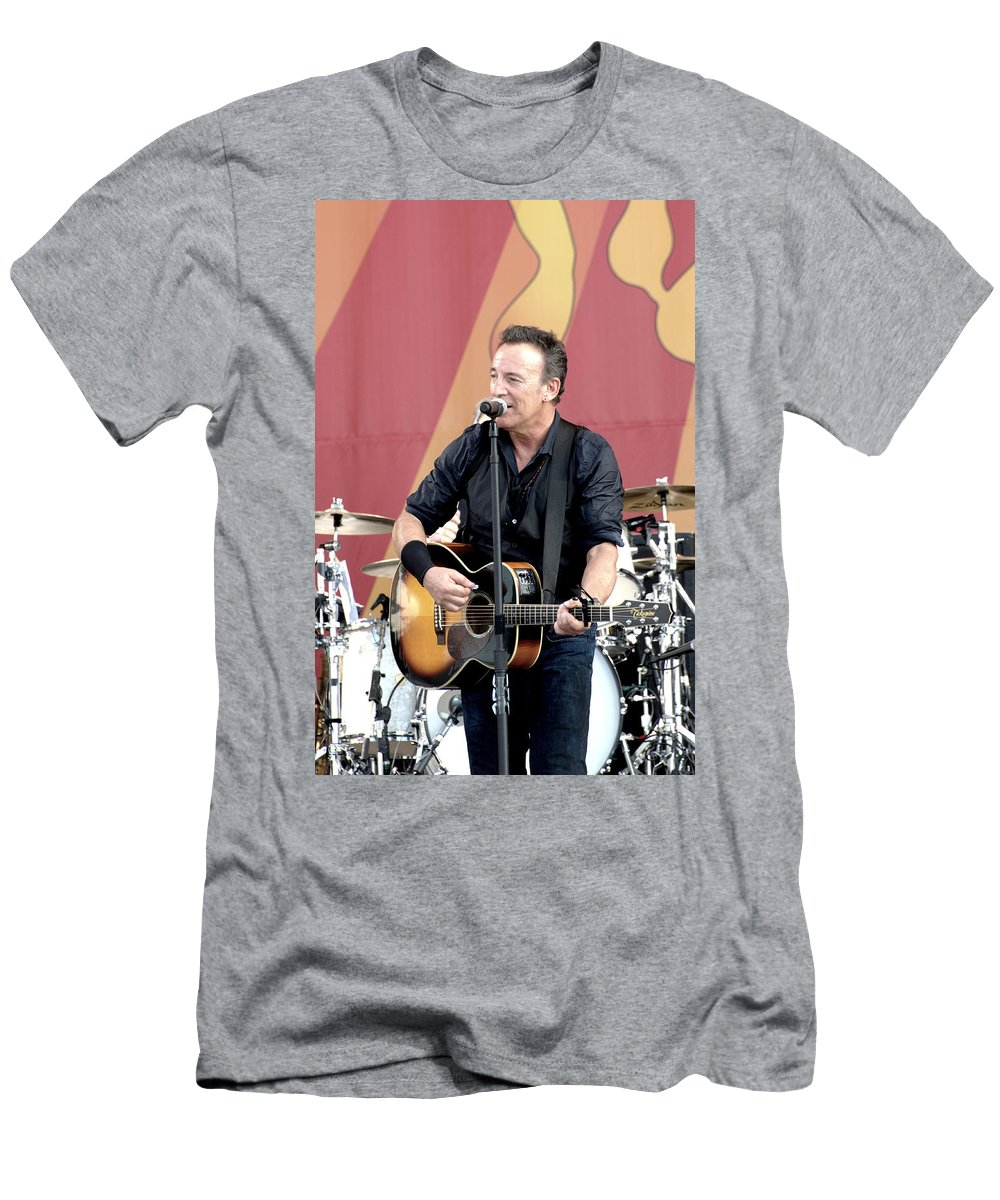 Bruce Springsteen Men's T-Shirt (Athletic Fit) featuring the photograph Bruce Springsteen 12 by William Morgan