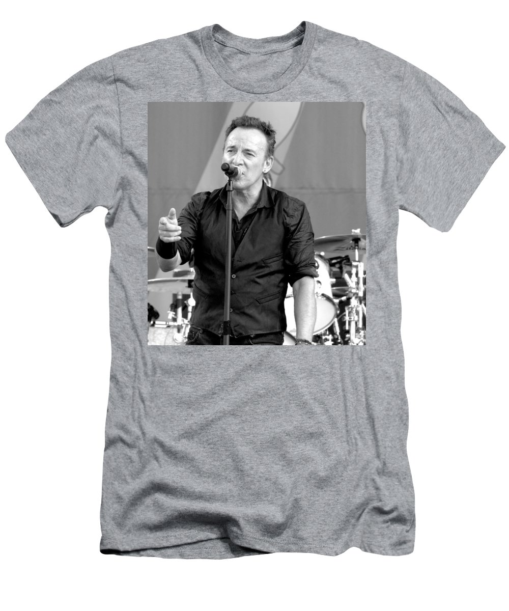 Bruce Springsteen Men's T-Shirt (Athletic Fit) featuring the photograph Bruce Springsteen 13 by William Morgan