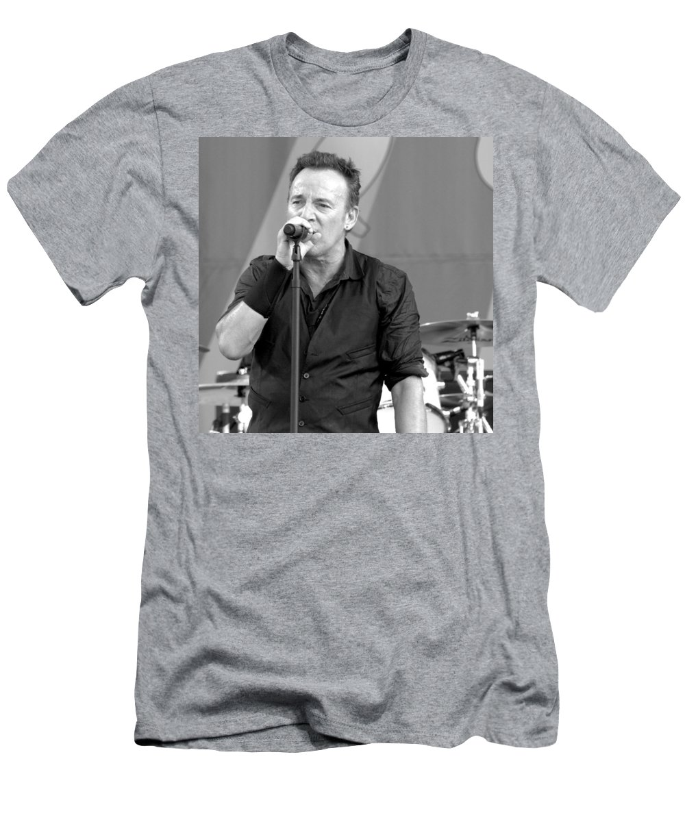 Bruce Springsteen Men's T-Shirt (Athletic Fit) featuring the photograph Bruce Springsteen 14 by William Morgan