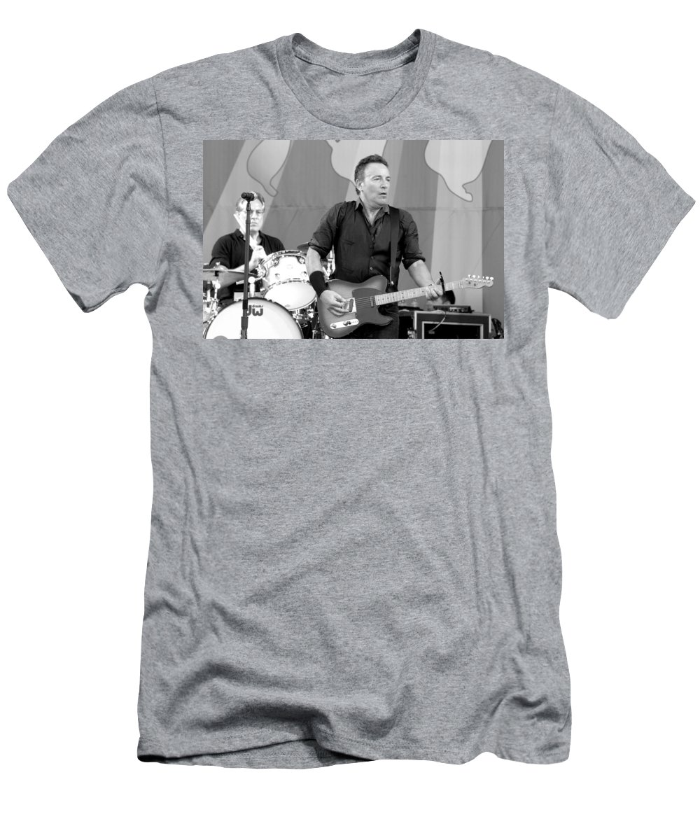 Bruce Springsteen Men's T-Shirt (Athletic Fit) featuring the photograph Bruce Springsteen 3 by William Morgan