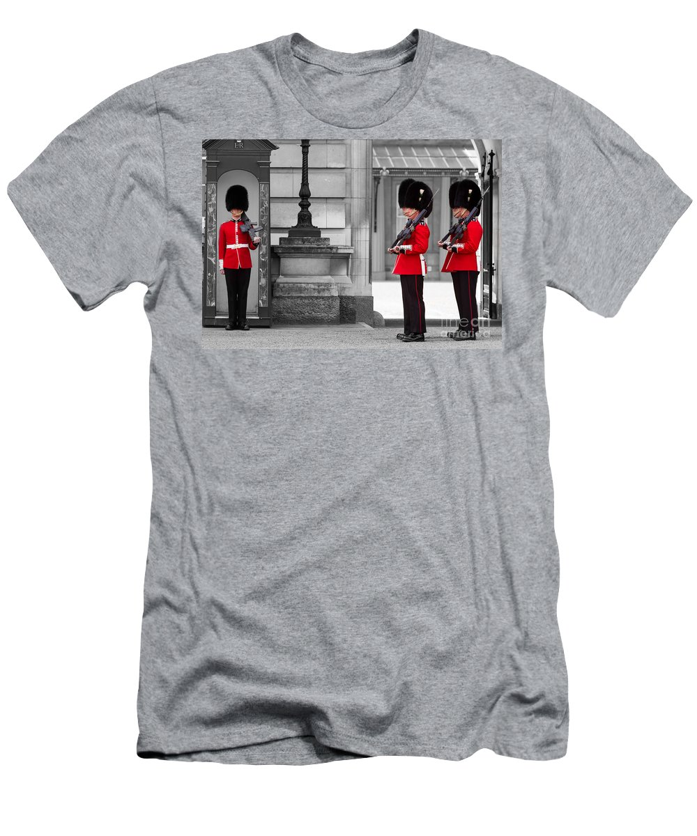 London Men's T-Shirt (Athletic Fit) featuring the photograph Buckingham Palace Guards by Matt Malloy