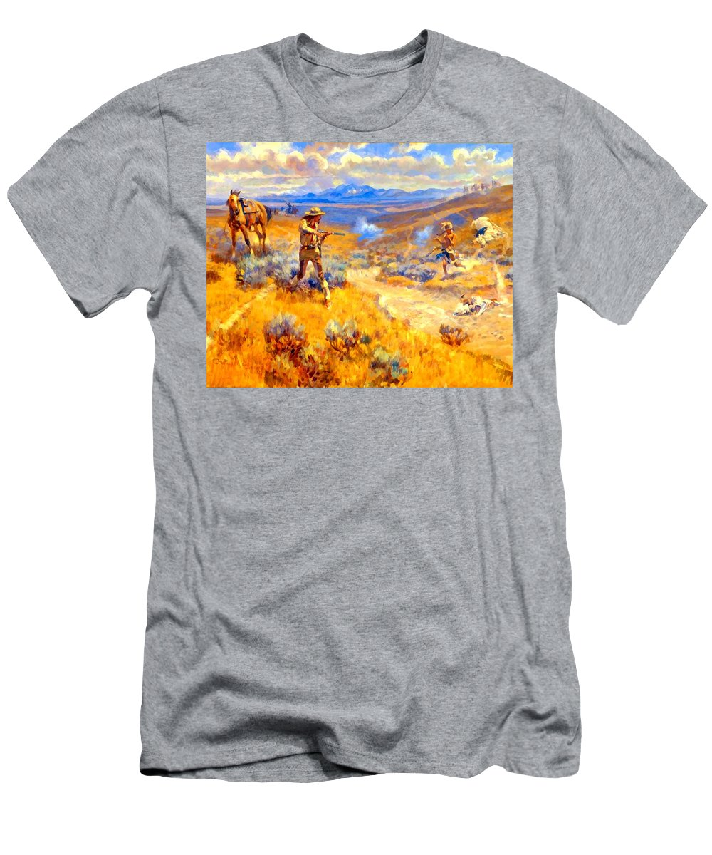 Buffalo Bills Duel With Yellowhand Men's T-Shirt (Athletic Fit) featuring the digital art Buffalo Bills Duel With Yellowhand by Charles Russell