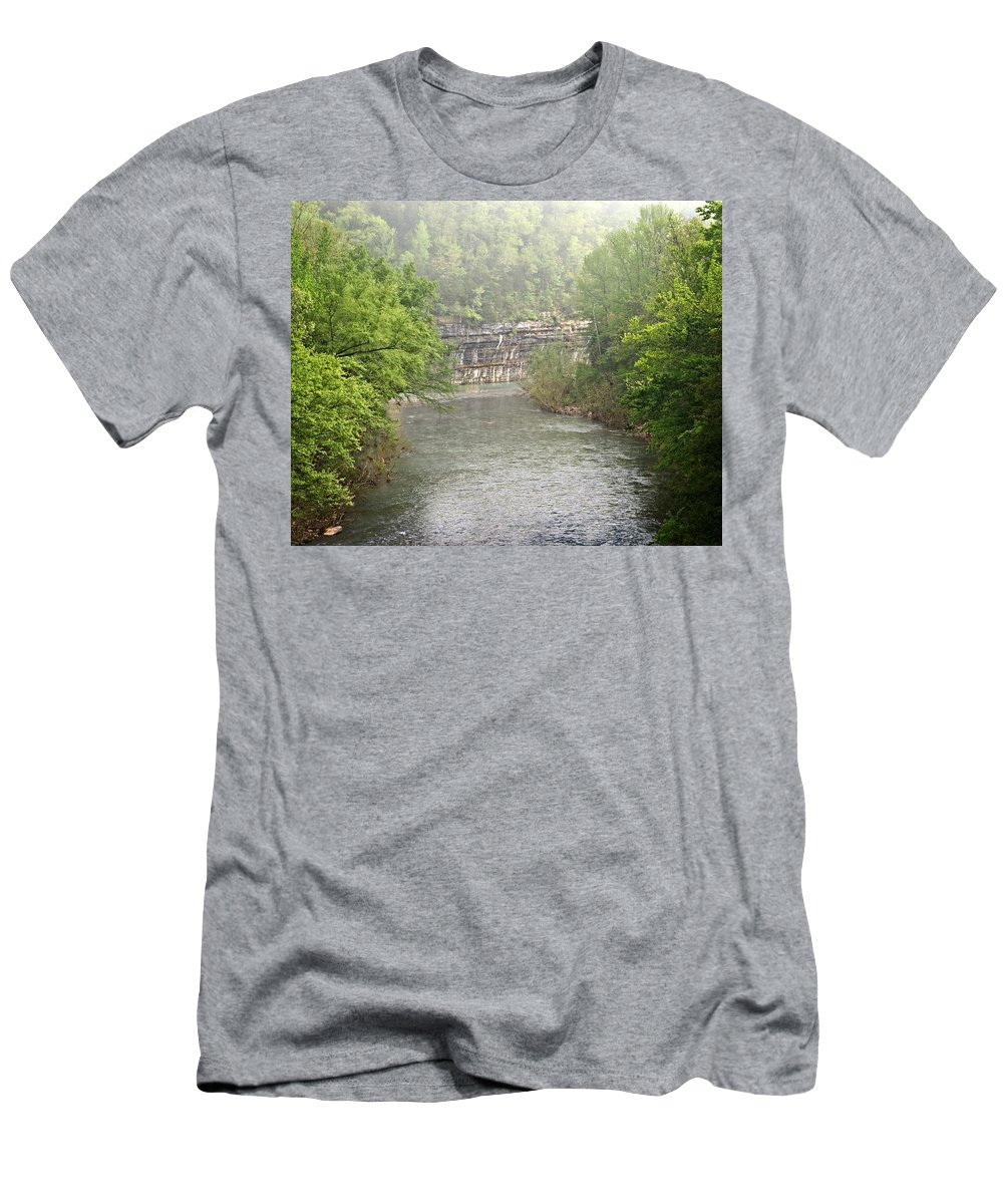 Buffalo National River Men's T-Shirt (Athletic Fit) featuring the photograph Buffalo River Mist Horizontal by Marty Koch