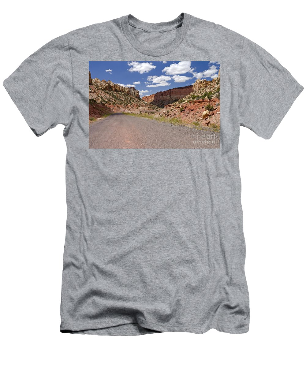 Utah Men's T-Shirt (Athletic Fit) featuring the photograph Burr Trail Road Through Long Canyon by Rick Pisio