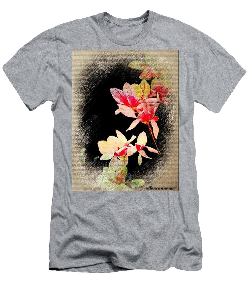 Magnolia Blossoms Men's T-Shirt (Athletic Fit) featuring the photograph Bursting Magnolias by Ellen Cannon