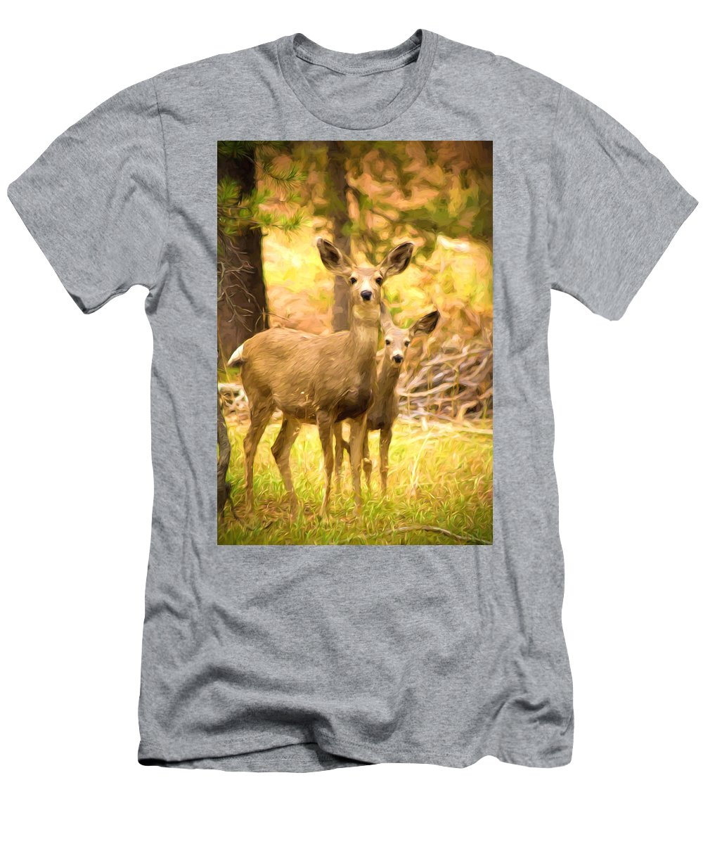 Photo Manipulation Men's T-Shirt (Athletic Fit) featuring the photograph By Mama's Side - Photo Manipulation - Mule Deer - Casper Mountain - Casper Wyoming by Diane Mintle