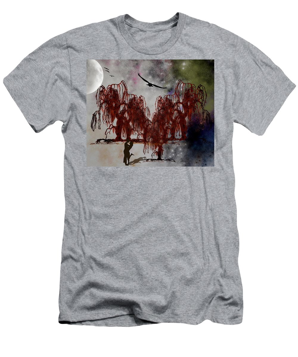Trees Men's T-Shirt (Athletic Fit) featuring the digital art By The Light Of The Silvery Moon by Ericamaxine Price