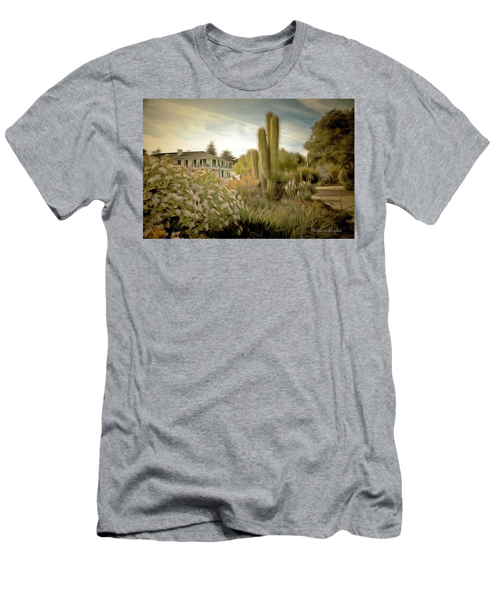 Barbara Snyder Men's T-Shirt (Athletic Fit) featuring the painting Monterey California Cactus Garden by Barbara Snyder