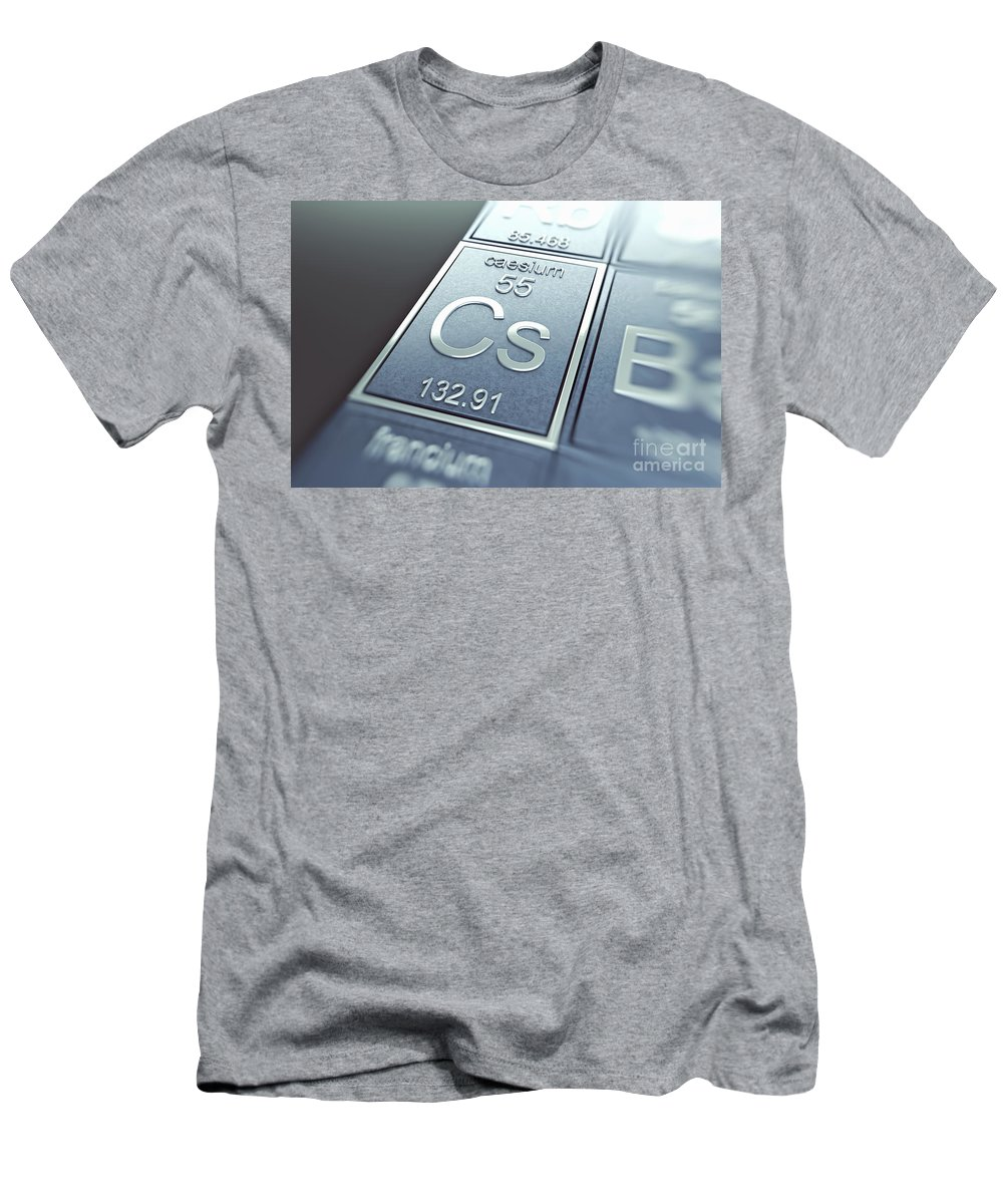 Atomic Number Men's T-Shirt (Athletic Fit) featuring the photograph Caesium Chemical Element by Science Picture Co