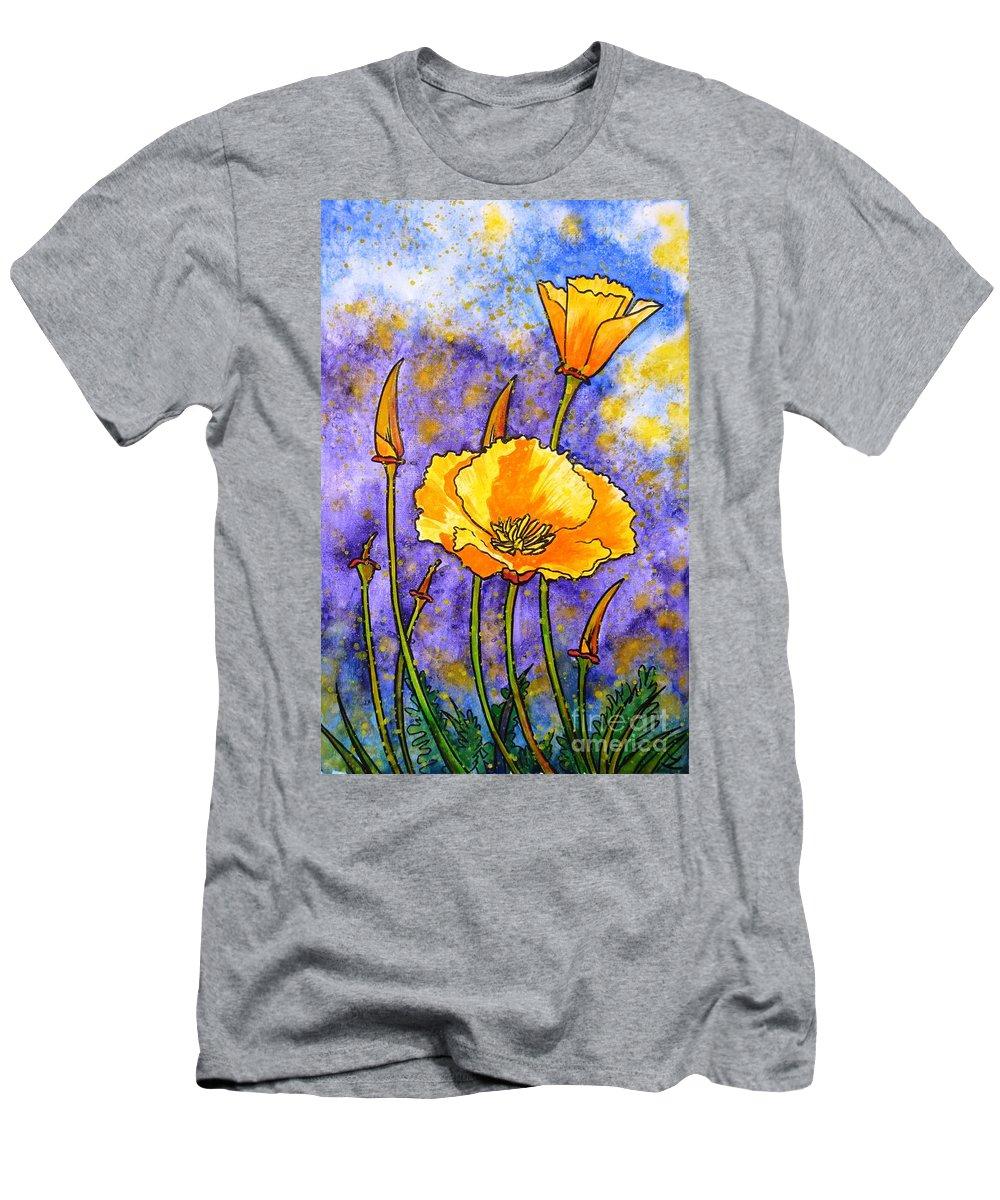 California Poppies Men's T-Shirt (Athletic Fit) featuring the painting California Poppies by Zaira Dzhaubaeva