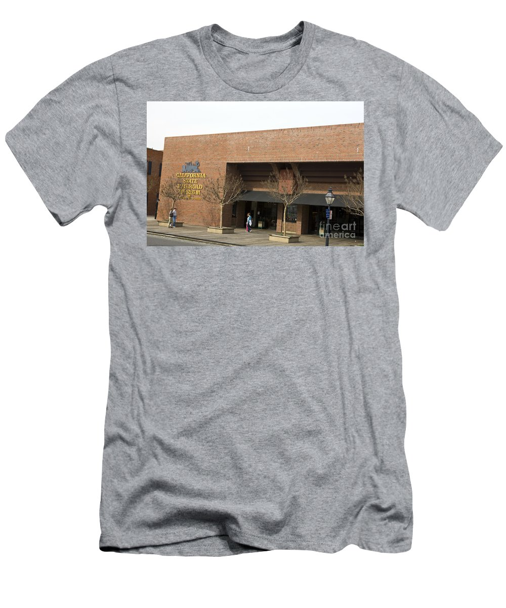 Travel Men's T-Shirt (Athletic Fit) featuring the photograph California State Railroad Museum Sacramento by Jason O Watson