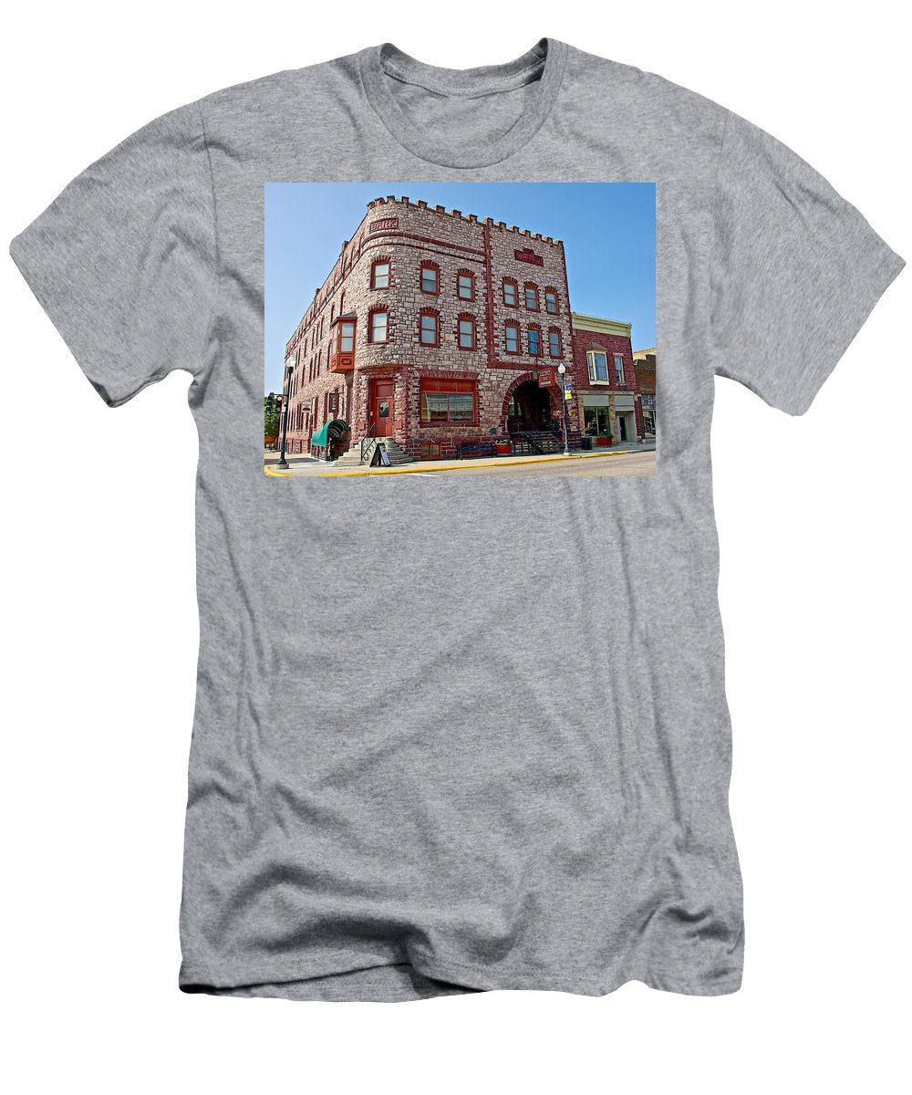 Calumet Hotel-1887 In Pipestone Men's T-Shirt (Athletic Fit) featuring the photograph Calumet Hotel-1887 In Pipestone-minnesota by Ruth Hager