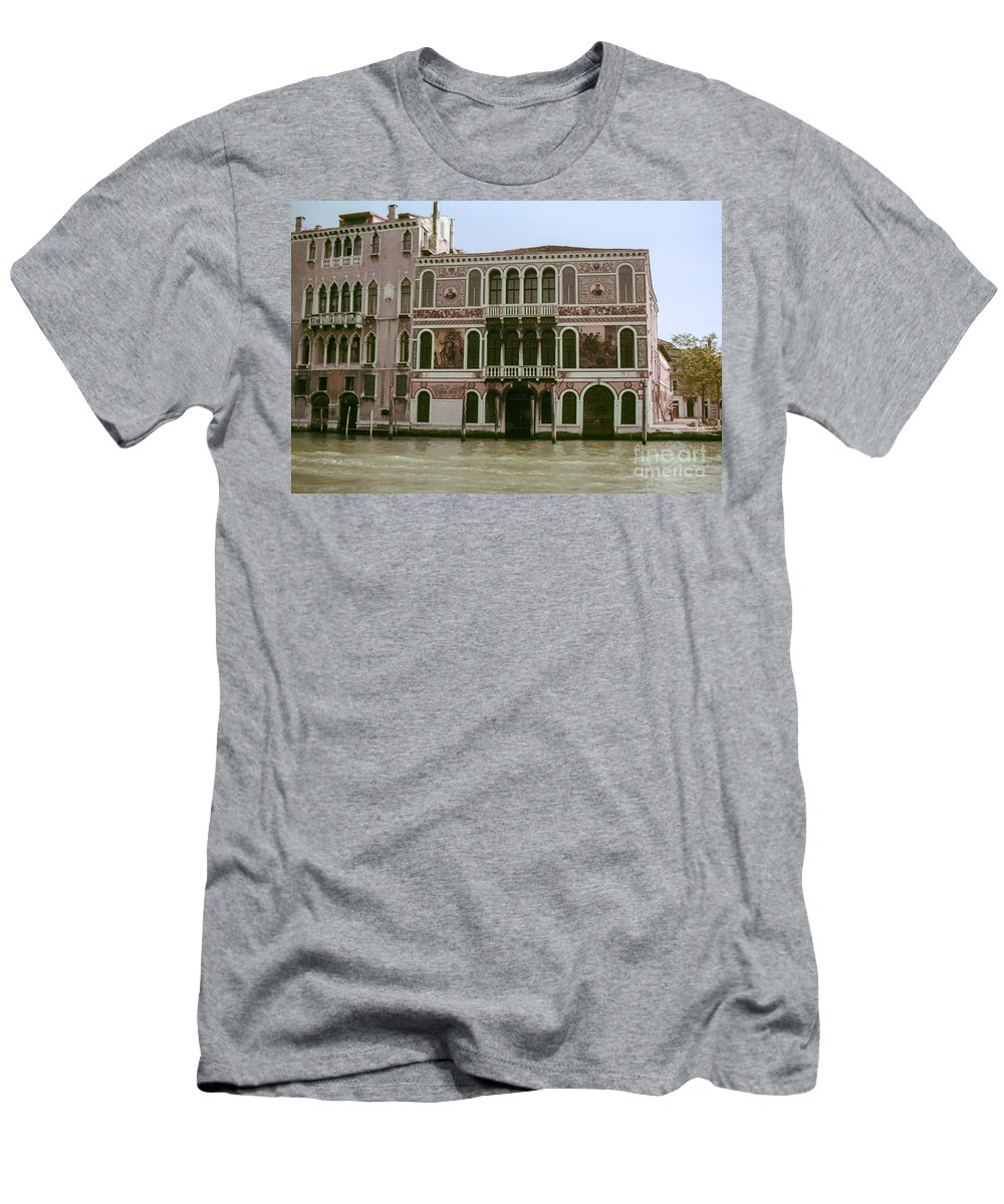 Venice Canal Canals Building Buildings Dock Docks Structure Structures Architecture Water Italy City Cities Cityscape Cityscapes Men's T-Shirt (Athletic Fit) featuring the photograph Canal Architecture by Bob Phillips