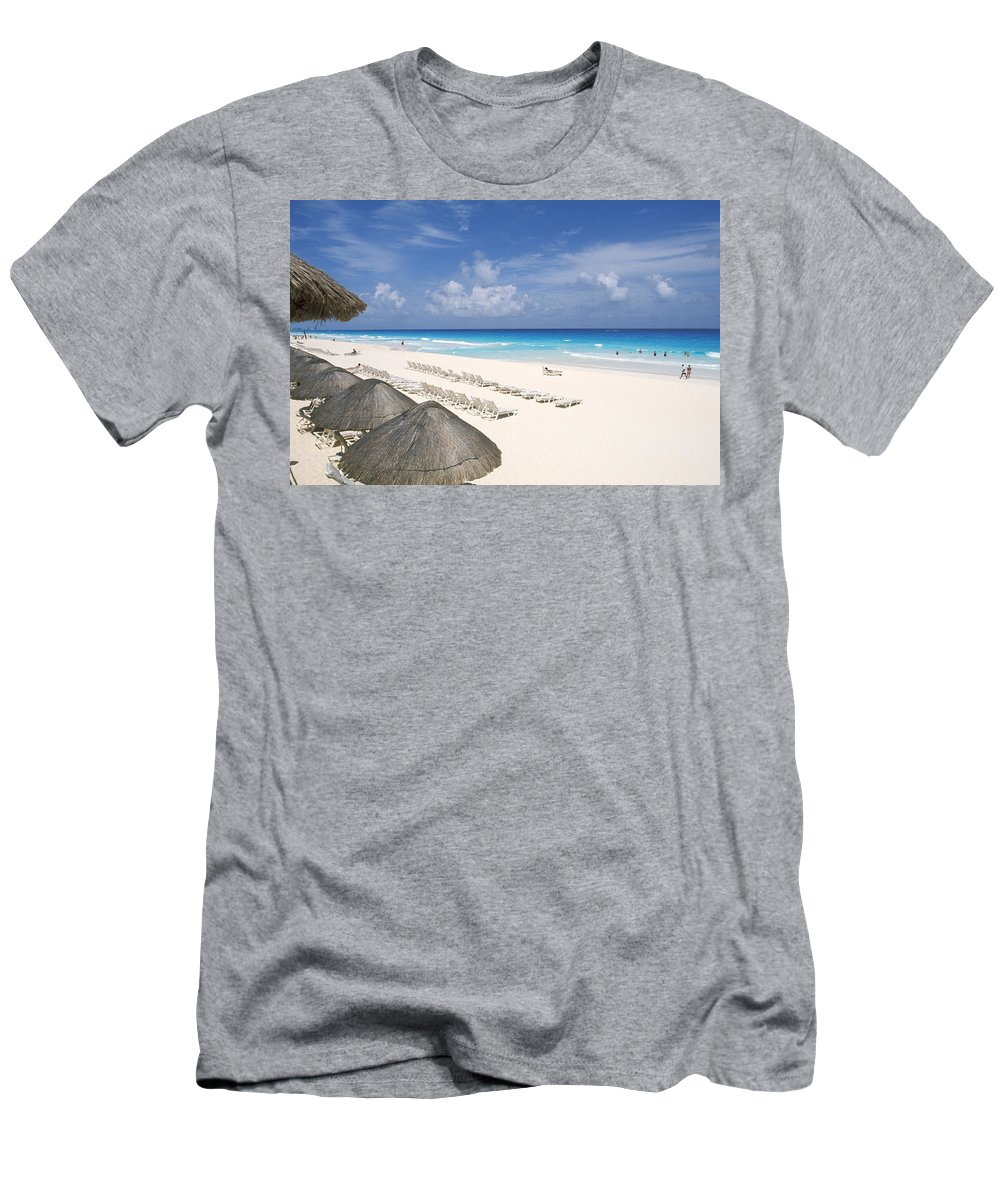 Attraction Men's T-Shirt (Athletic Fit) featuring the photograph Cancun Beach by Bill Bachmann - Printscapes