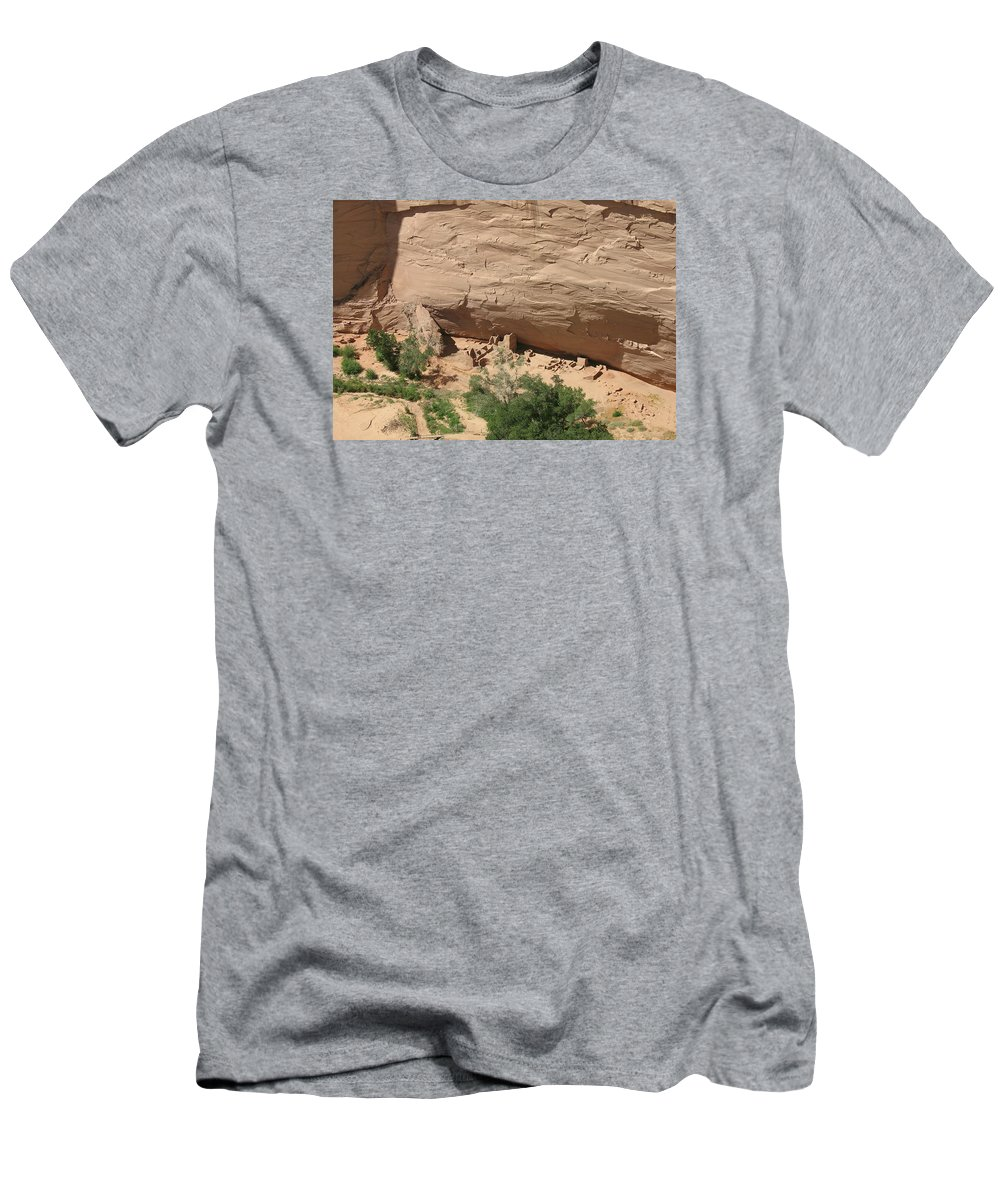 Canyon Men's T-Shirt (Athletic Fit) featuring the photograph Canyon De Chelly Ruins by Christiane Schulze Art And Photography