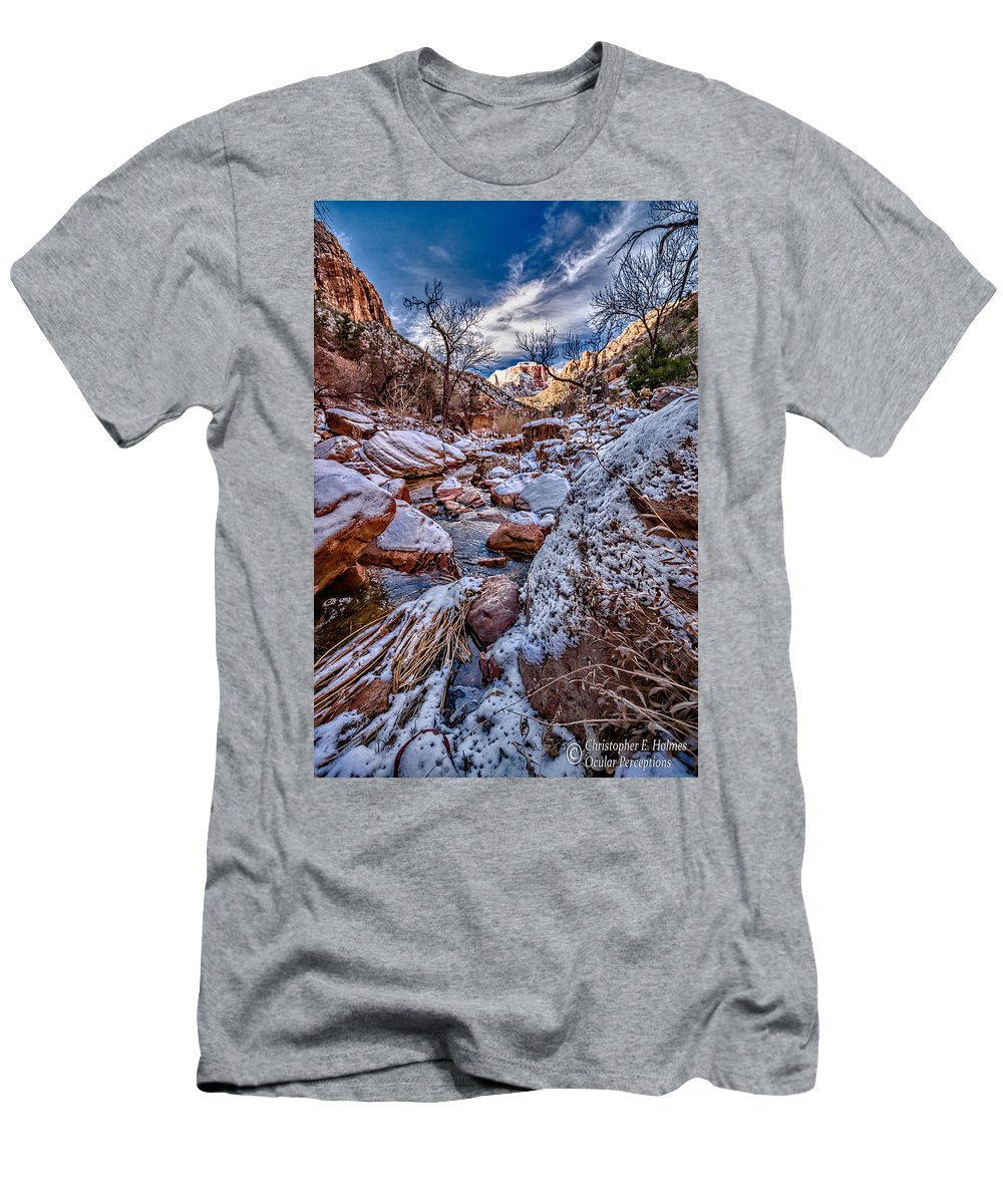 Canyon Men's T-Shirt (Athletic Fit) featuring the photograph Canyon Stream Winterized by Christopher Holmes