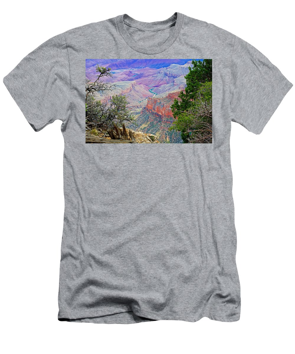 Canyon View From Walhalla Overlook On On North Rim/grand Canyon National Park Men's T-Shirt (Athletic Fit) featuring the photograph Canyon View From Walhalla Overlook On North Rim Of Grand Canyon-arizona by Ruth Hager