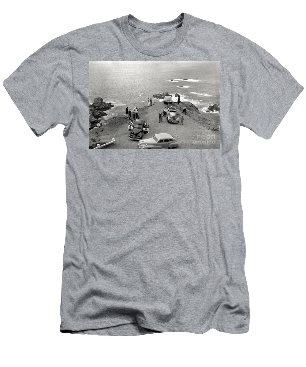 Car Men's T-Shirt (Athletic Fit) featuring the photograph Car Over Edge On Highway One Big Sur California  March 27 1947 by California Views Archives Mr Pat Hathaway Archives