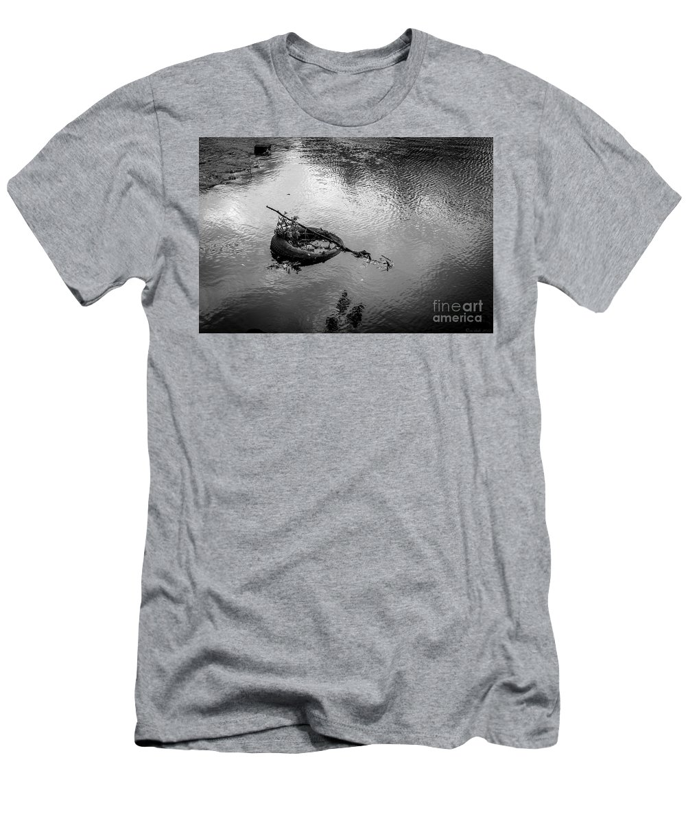 Tire Men's T-Shirt (Athletic Fit) featuring the photograph Carcass In The River by M Dale