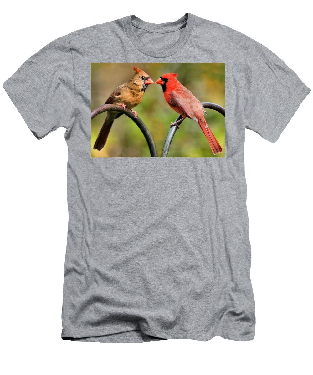 Cardinalis Men's T-Shirt (Athletic Fit) featuring the photograph Cardinal Love by Kristin Elmquist